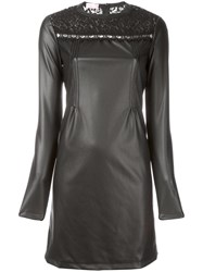 Giamba Leather Effect Lace Detail Dress Black