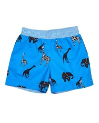 Florence Eiseman Safari Print Swim Trunks Royal
