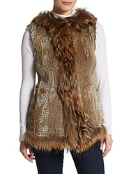 La Fiorentina Hooded Fur Vest Natural