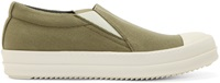 Rick Owens Green Canvas Slip On Boat Sneakers