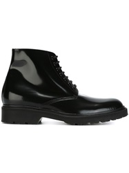 Saint Laurent Lace Up Military Boots Black