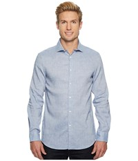 Perry Ellis Slim Fit Long Sleeve Solid Linen Shirt Colony Blue Men's Clothing