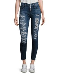 Hudson Ciara Distressed Button Fly Super Skinny Jeans Bombard Blue
