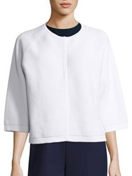 Piazza Sempione Optical Ribbed Half Sleeve Cardigan Optical White
