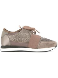 Lola Cruz Lace Up Trainers Brown