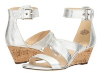 Nine West Piwow Silver Metallic Wedge Shoes
