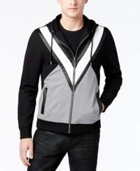 Inc International Concepts Men's Colorblocked Hoodie With Faux Leather Piecing Only At Macy's Deep Black