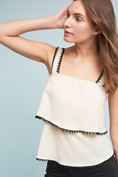 Anthropologie Alvina Square Neck Top Cream