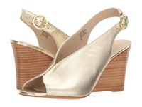 Seychelles Dazzling Gold Leather Wedge Shoes