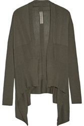 Rick Owens Asymmetric Cotton Blend Cardigan Army Green