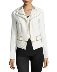 Raison D'etre Faux Leather Trim Zip Jacket White