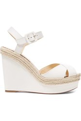 cdbfea8587d Almeria 120 Leather Espadrille Wedge Sandals White