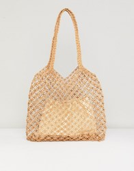 Warehouse Knitted Straw Bag With Removable Pouch Beige