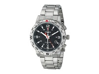 Timex Intelligent Quartz Adventure Series Compass Stainless Steel Bracelet Watch Black Silver Tone Red Accents Watches