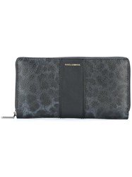 Dolce And Gabbana Leopard Print Long Wallet Black