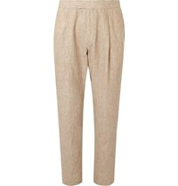 Caruso Stone Pleated Washed Linen Suit Trousers Stone