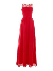 Little Mistress Beaded Top Maxi Dress Red