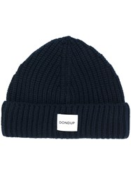 Dondup Logo Patch Knitted Beanie Men Acrylic Wool One Size Blue
