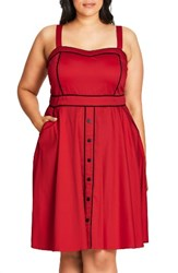 City Chic Plus Size Women's Darling Contrast Piped Fit And Flare Sundress Scarlet