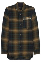 Isabel Marant Milane Embellished Plaid Linen And Wool Blend Shirt Brown