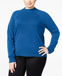 Karen Scott Plus Size Cashmelon Luxsoft Mockneck Sweater Only At Macy's Deep Pacific