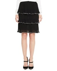 Mary Katrantzou Tiered Ruffle Trim Skirt Black