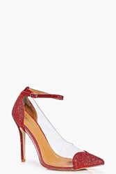 Boohoo Ankle Band Clear Side Heart Detail Court Red