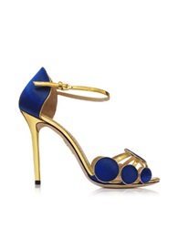 Charlotte Olympia Cobalt Blue Satin Silk And Leather Contemporary Sandal