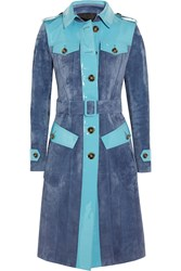 Burberry Patent Leather Paneled Suede Trench Coat Blue