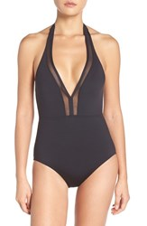 Tommy Bahama Women's Mesh Solids Plunge Halter One Piece Swimsuit