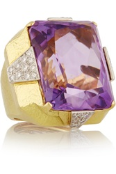 David Webb 18 Karat Gold Platinum Amethyst And Diamond Ring