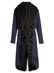 Sies Marjan Tie Waist Double Faced Coat Black Navy