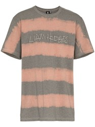 Liam Hodges Logo Printed And Bleached Cotton T Shirt Grey