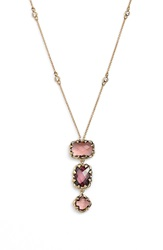 Judith Jack Three Stone Long Pendant Necklace Pink Burgundy