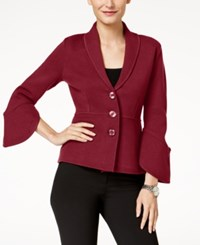 Alfani Petite Bell Sleeve Collared Cardigan Created For Macy's Malbec