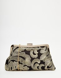 Chi Chi London Chi Chi Clip Top Clutch Bag With Gold Floral Embroidery Multi