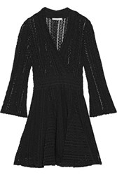 Iro Sundae Wrap Effect Crocheted Cotton Blend Mini Dress Black