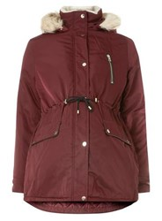 Dorothy Perkins Maternity Burgundy Luxe Parka Jacket Red
