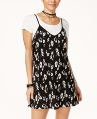Trixxi Juniors' Printed Slip Dress With T Shirt Black White