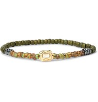 Luis Morais Hematite Glass Bead And Gold Bracelet Army Green
