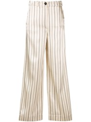 Nehera Striped Flared Trousers Neutrals