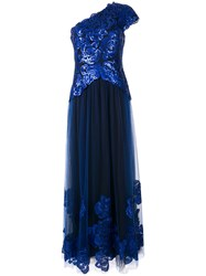 Tadashi Shoji Embellished One Shoulder Dress Blue