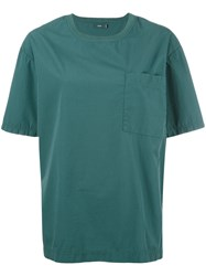 Closed Pocket Detail Crew Neck T Shirt Green