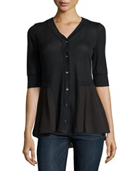 P. Luca Short Sleeve Chiffon Trim Cardigan Black