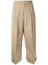 Enfold Loose Fit Cropped Trousers Brown