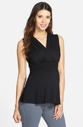 Women's Maternal America 'Tummy Tuck' Maternity Nursing Top Black