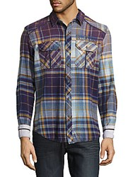 Affliction Multi Tone Plaid Shirt Navy