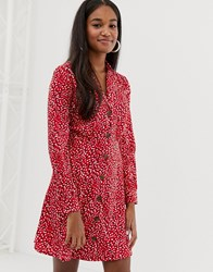 Influence Button Down Collar Detail Dress In Splodge Print Red Polka Dot