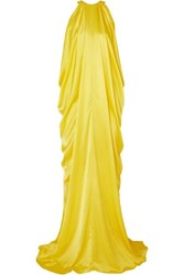 Halpern Draped Satin Gown Yellow