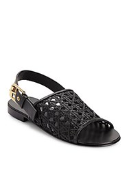 Giuseppe Zanotti Nappa Woven Leather Sandals Black